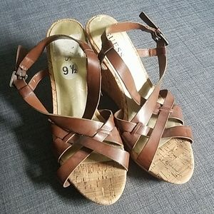 Guess Tan Faux Leather Strappy Sandal Wedges